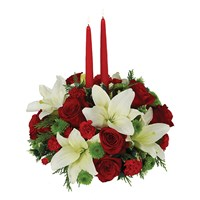 Traditional holiday centerpiece of flowers for sale
